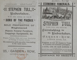 Advertisement for Stephen Tull, undertaker 4128